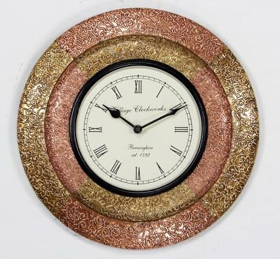 """Antique Vintage Hand Made Ethnic Wooden Brass & Copper Finish 12"""" Wall Clock-045"""