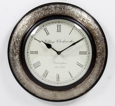 """Antique Vintage Hand Made Wooden Silver Finish 12"""" Wall Clock-077"""