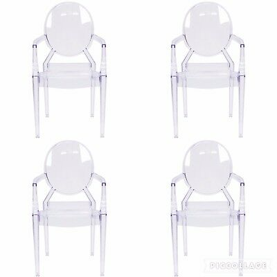 (4) Modern Ghost Dining Side Arm Chairs Transparent Crystal Clear Acrylic Louis