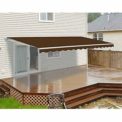 ALEKO Retractable Motorized Outdoor Patio Awning 10ft x 8ft Brown Color