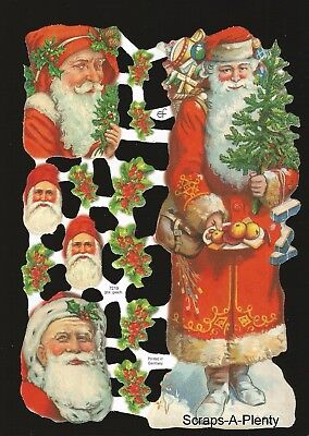 Die Cut Scrap German Vintage Style Embossed - Christmas Colorful  Santa  EF7219