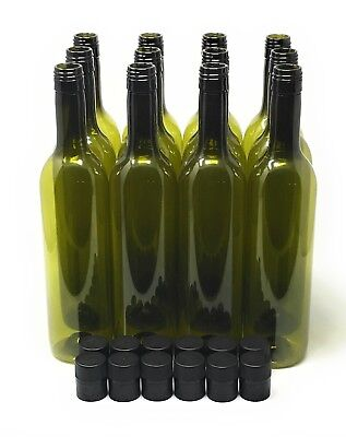 Plastic Wine Bottle 750ml & Screw Caps Green 12 pack, Free Shipping