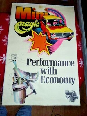 Vintage 1970s Austin Mini Magic Poster Performance With Economy Cooper 20 x 30