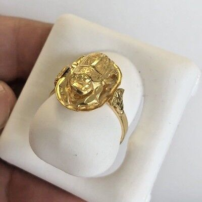 Egyptian Handmade Scarab Pharaoh Cartouch Lotus Ring  Size 7,18K Yellow Gold