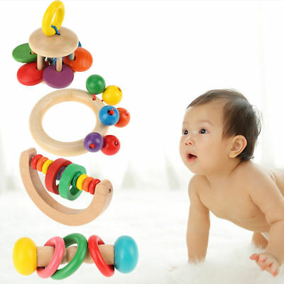 Child Kid Baby Wooden Bell Rattle Toy Hand Bell Musical Educational Instrument