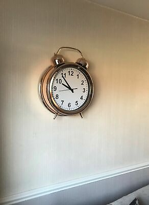 Copper Large Retro Double Bell vintage Style Giant Wall Clock
