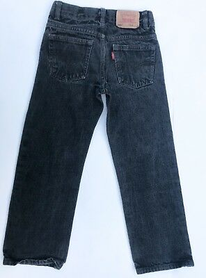 VTG Kids Levi's 549 Relaxed Straight Fit Grunge Black Wash 90s Jeans 5 6 7 Y