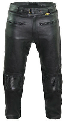CE Armoured Motorbike Motorcyle 100% Real Leather Cruiser Touring Trousers Jeans