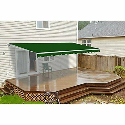 ALEKO Retractable Motorized Outdoor Patio Awning 10ft x 8ft Green