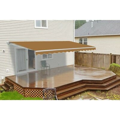 ALEKO Motorized Retractable Patio Awning 10 X 8 Ft Sand Color
