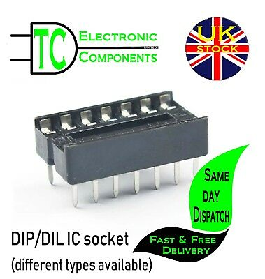DIL/DIP IC socket 6, 8,14,16,18, 20 pin available (pack of 5)  **UK SELLER**