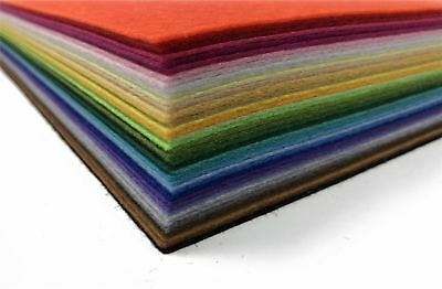 30 x 31cm Fuzzy Felt Fabric Craft Sheets 40 Colours Multi Pack 2mm