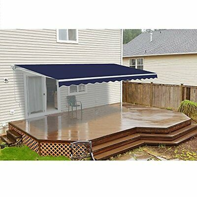 ALEKO Retractable Motorized Home Patio Canopy Awning 12 X 10 Ft Blue