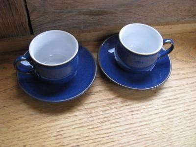 Denby Imperial blue 2 demi tasse small coffee cups and saucers