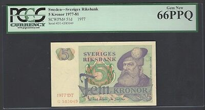 Sweden 5 Kronor 1977  P51d Uncirculated Graded 66