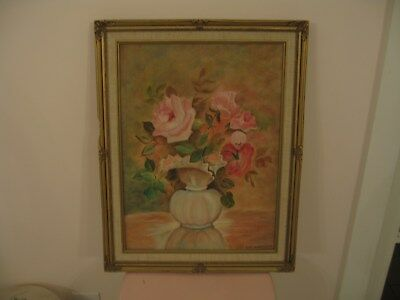 Beautiful Vintage Gold Ornate Framed Oil Painting Of Pink Roses In A Vase Signed