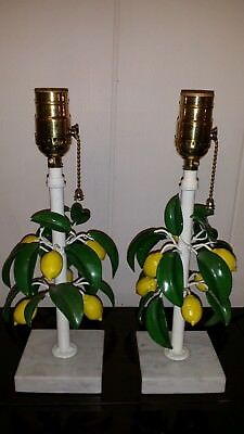 Pair Antique Shabby Vtg Chic Italian Petite Tole Lemon Tree Lamps
