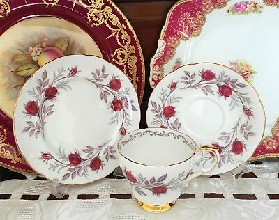 Vintage Paragon Fine Bone China England 'fascination' Rose Pattern Trio C1957+