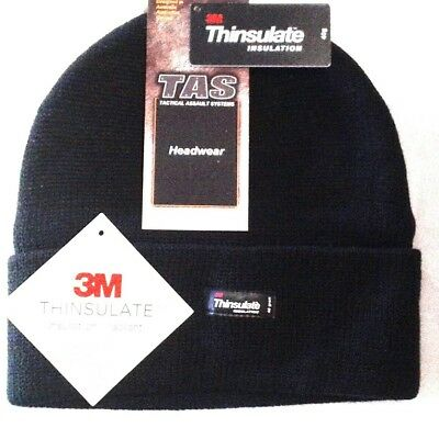Tas 100% Wool Knitted Beanie With 3M Thinsulate Lining - Black