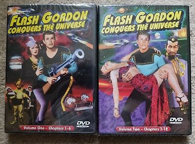 LOT of 2 Flash Gordon Conquers the Universe, Vol. 1 & 2: Chapters 1-12 NEW