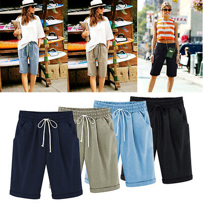 Plus Size Women Ladies Casual Loose Shorts Trousers Cropped Pants Summer M-3XL