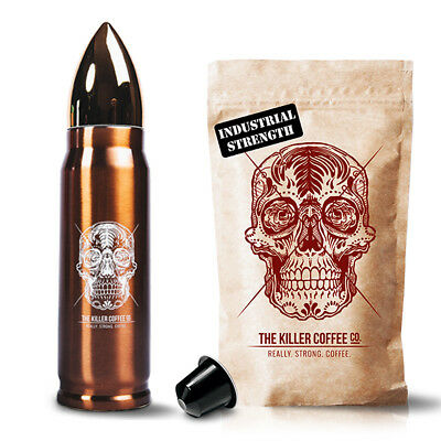 Killer Capsules + Bronze Bullet Flask - Nespresso, Strong Smooth Coffee