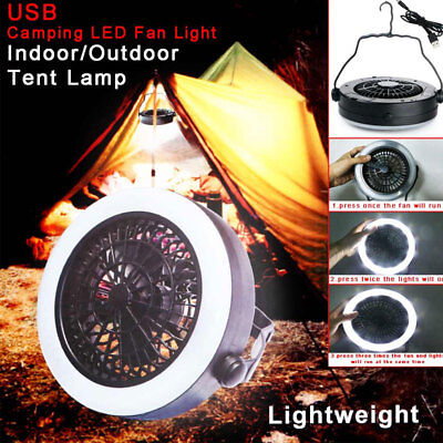 AU Outdoor Camping Portable USB Rechargeable LED Fan Light Hanging Tent Lamp