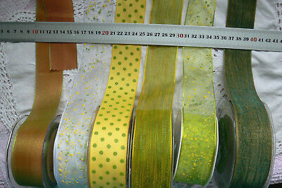 YELLOW & PARROT GREEN Polyester 38mm Wide 2 or 3 Metres 7 Design Styles Choice
