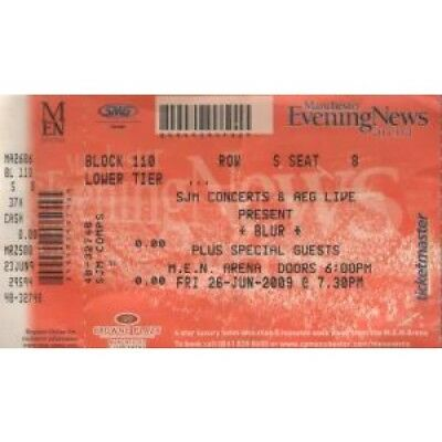 BLUR Manchester Evening News Arena 26Th June 2009 TICKET UK Sjm 2009 Gig Ticket