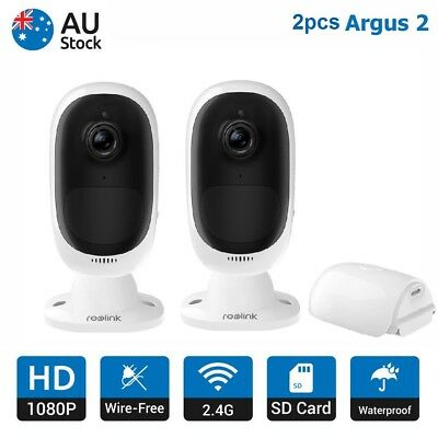 2pcs HD 1080P Security Camera Rechargeable Battery Powered CCTV Reolink Argus 2