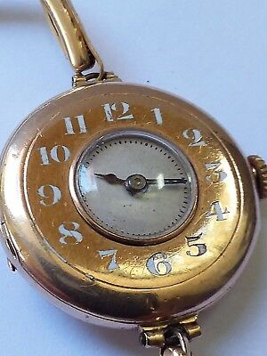 Rare Antique Rolex Ladies Watch Demi Hunter 9 K Case 14 K Gold Band Circa 1909