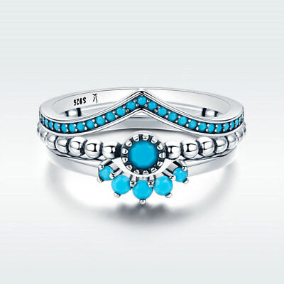 Bohemian Style S925 Sterling Silver Finger Ring Set With Blue CZ Wedding Jewelry