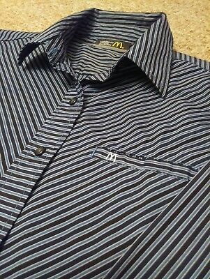 McDonalds Apparel Collection Womens Blue and Black Striped Work Shirt size XS