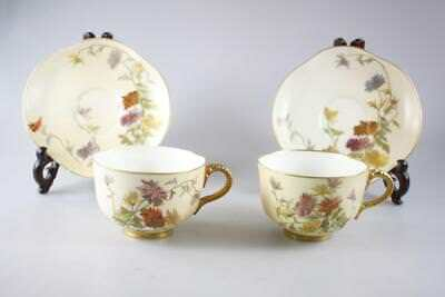 Antique Royal Worcester England Blush Ivory Pair Of Cup And Saucer