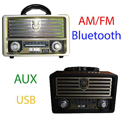 NEW CMIK Wooden Portable Radio Compact Bluetooth Stereo Speaker AUX USB AM/FM