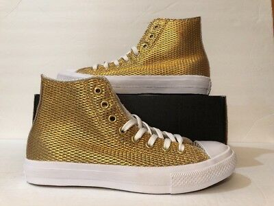 613528ece1943a Converse Chuck Taylor All Star II Hi Gold White Sneakers 555796C Women s  Size 9