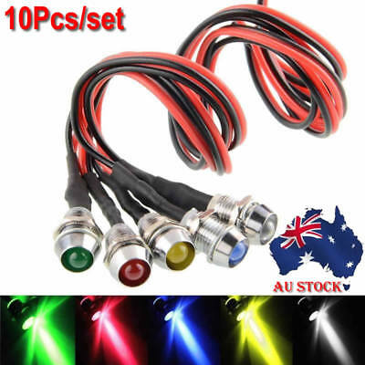 8mm Car Boat LED Indicator Pilot Dash Dashboard Panel Warning Light Lamp 10Pcs