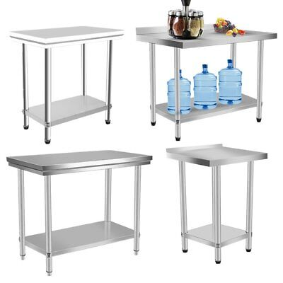 Commercial Stainless Steel Work Bench Kitchen Catering Table Top Prep Backsplash