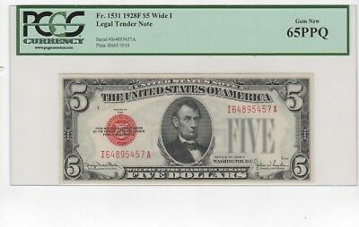 "Fr.1531 1928 F $5 LEGAL TENDER NOTE ""RED SEAL"" PCGS 65 PPQ, ""WIDE I"""
