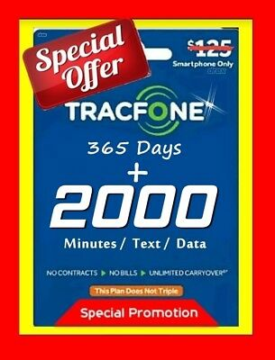 TracFone Smartphone Minutes Refill 1 Year 365 Days Service Plan + 2000/2000/2000