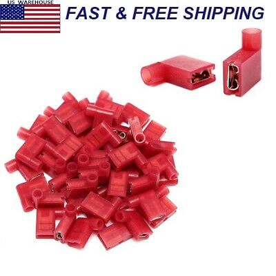 50Pcs Red 22-18AWG 6.35mm 90 Degree Right Flag Lucar Spade Female Terminals