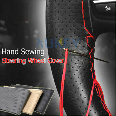 Car Auto Steering Wheel Cover With Needles Thread Hand Sewing Sew DIY PU Leather