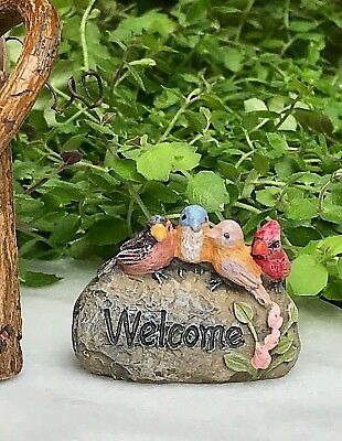 Miniature Dollhouse Mini FAIRY GARDEN Accessories ~ WELCOME Rock with Birds