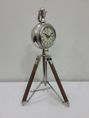 Vintage Tripod Table  Clock With Adjustable Legs and Face