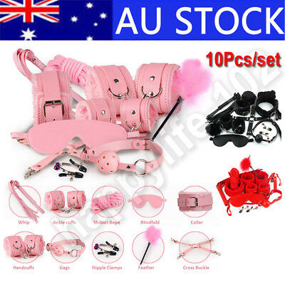 10pcs Bondage Beginners Starter Cuffs Pack Restraint Adult Sex Game Toy BDSM kit