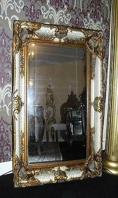 Large wooden framed mirror antique design louis xv rococo style bevelled