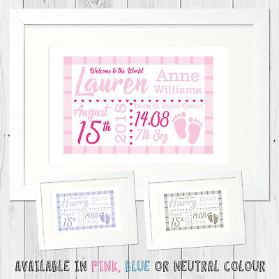 Personalised New Born Baby Name Framed Picture Print New Baby Gift Boy or Girl