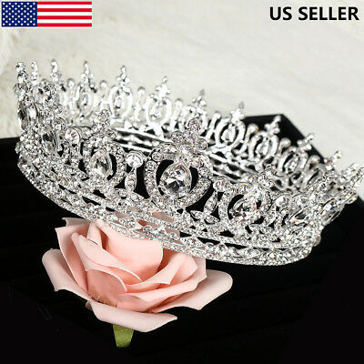 SWEET Luxury Full Round Crystal Queen Crown Rhinestone Bridal Tiara Pageant USA