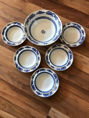 Fabulous George Jones Dragon Pattern Fruit Serving Bowl & 5 Small Bowls