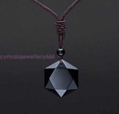 Lucky Black Pure Obsidian Gem Geometric Pendant Necklace Free Chain 25""
